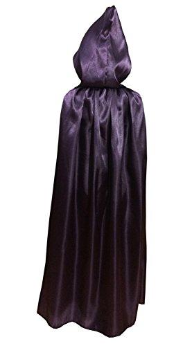 Zhong Min Kids Silk Costume Hooded Cape Masquerade Cloak,Purple L