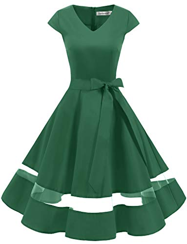 Gardenwed Women's 1950s Rockabilly Cocktail Party Dress Retro Vintage Swing Dress Cap-Sleeve V Neck Green XS -