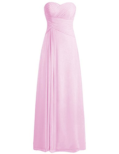 ModeC Women's Sweetheart Chiffon Long Bridesmaid Dresses Ruched Evening Gowns Pink US10