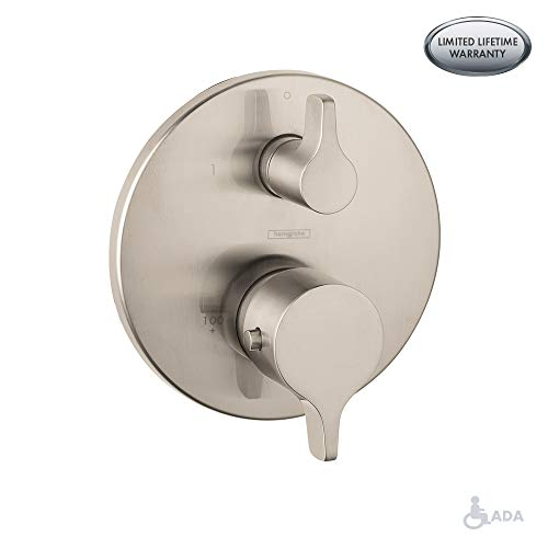 Hansgrohe 4448820 S/E Pressure Balanced Valve Trim with Integrated Diverter, Small, Brushed Nickel