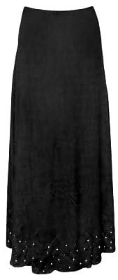 Women's Black Solid Starry Night Slinky Print Plus Size Supersize Skirt