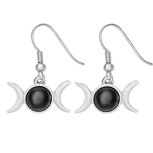 (Triple Moon Goddess Symbol Semi-Precious Stones Dangle Earrings Necklace(Black Onyx Silver Earring) )