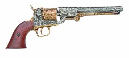 Revólver azul marino grabado Denix 1851, latón - Réplica sin disparo