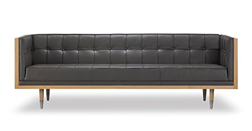 Kardiel Woodrow Midcentury Modern Box Sofa, Grey Aniline Leather/Ash