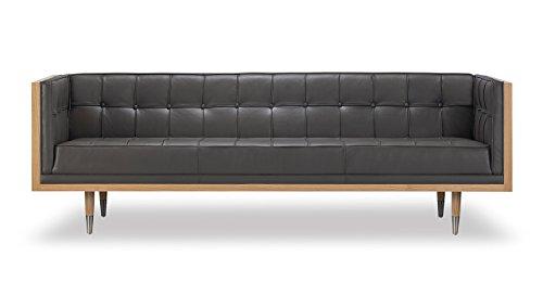 Kardiel Woodrow Midcentury Modern Box Sofa, Grey Aniline Leather/Ash Ash Leather Sofa
