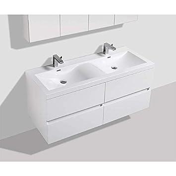 Meuble salle de bain design double vasque SIENA largeur 144 cm, blanc laqué 8fa5e7eaf55d