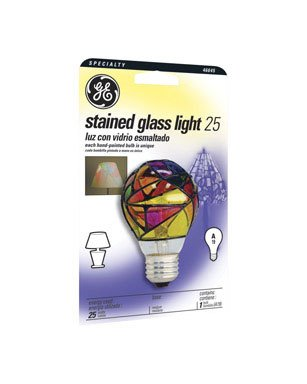 - Ge Stained Glass Light Bulb Indoor 25 W A19 Med Base 4-1/4 In. Multicolored Carded