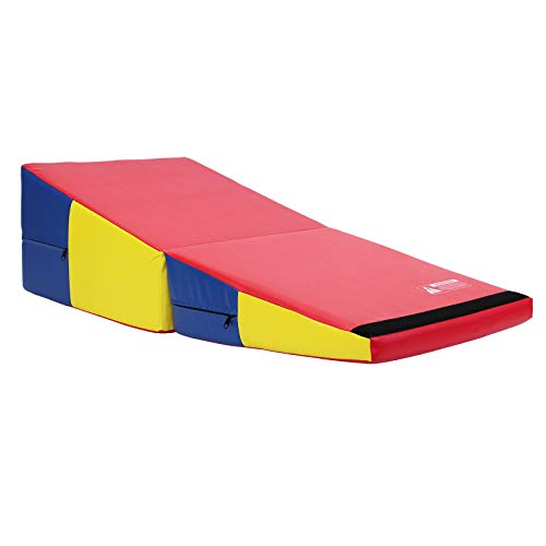 Commercial Bargains Red Blue Yellow Folding Incline Gymnastics Mat Foam Triangle Tumbling Wedge 121