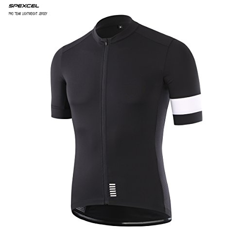 SPEXCEL Climber Cycling Jersey Short Sleeve Bicycle Shirt Profession Road Bicycle Race Fit Black With White Stripe(XL)