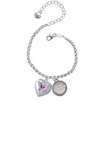 Pink & Purple Butterfly Locket Sisters Are Best Friends Forever Engraved Bracelet
