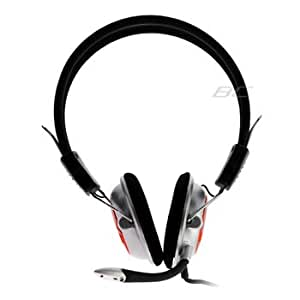 GTMax Computer VOIP SKYPE Handsfree Stereo Headset Headphone with Microphone - Silver/Black