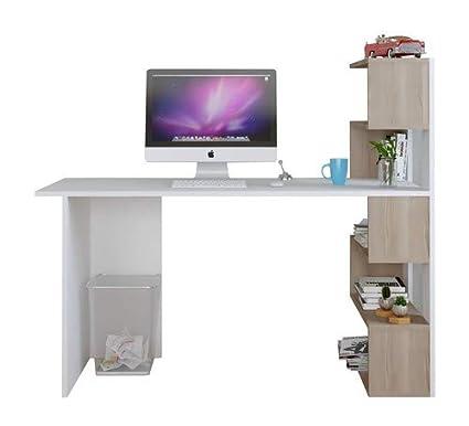 Scrivania Per Computer Design.Scrivania Deluxe Bianco Noce Tavolo Computer Workstation Per Home Office In Design Moderno