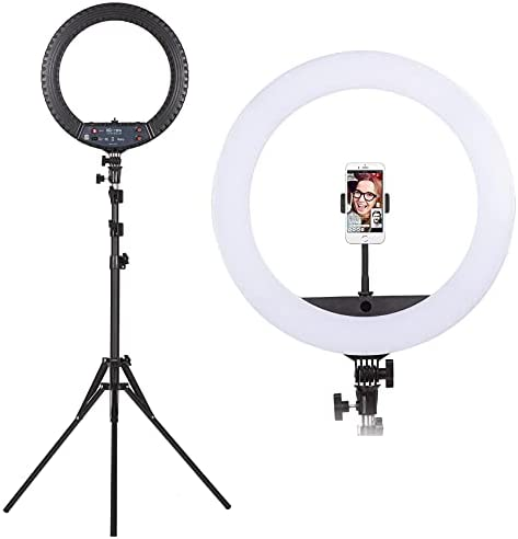 18 inch Ring Light, All in One Ring Light with 120 Large LED Bulbs, Super Bright, 3 Color Modes, 10 Adjustable Brightness for Live Stream, Makeup