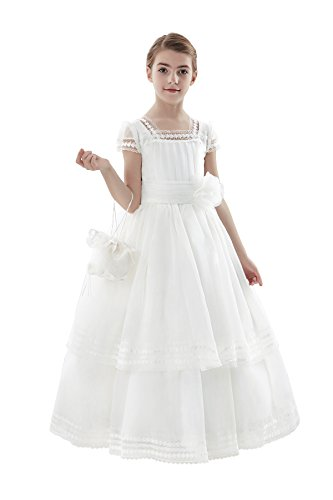 Costume Ball Gowns Cheap (AISLE STYLE First Holy Communion Dresses Flower Girl Soft Lace Ball Gown with U-neck Lace Daisies Multilayer Organza White8)