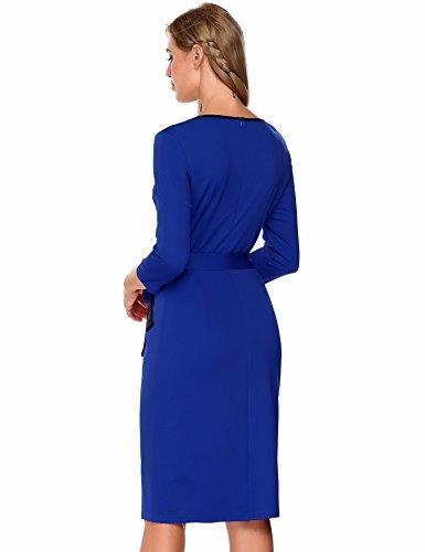 Blu Donne Tasca Reale 3 Delle Del Manica 4 Girocollo Cintura Vestito Burlady Di Matita Business Dalla qPTt67xCw