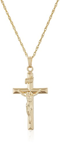 Mens 14k Gold Filled Solid Beveled Edge Embossed Crucifix Cross with Gold Plated Stainless Steel Chain Pendant Necklace, 18