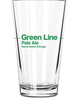 (Goose Island Green Line Pint Glass)