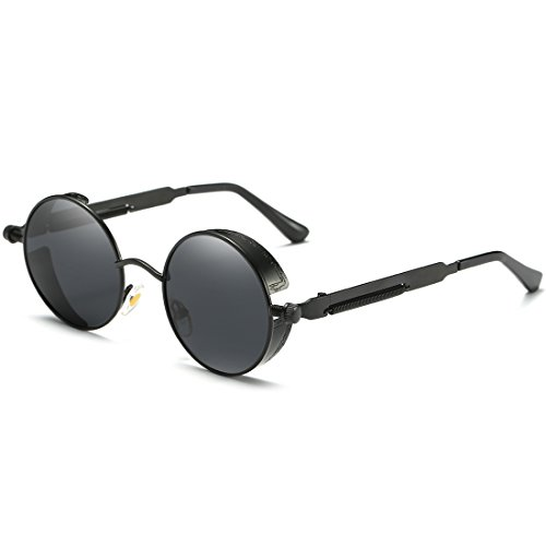 Joopin-Round Retro Polaroid Sunglasses Driving Polarized Glasses Men Steampunk (Black Retro, as the - Glasses Polaroid