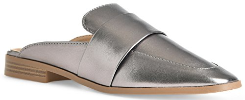 Women's Slide On Slip On Mule Loafer Flats Shoes by LUSTHAVE Gunmetal 6.5