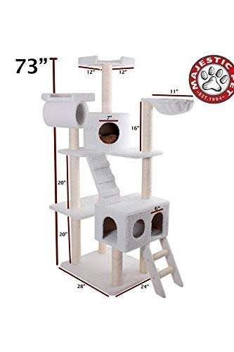 Majestic Pet Products 73 inch Cream Bungalow Cat Furniture Condo House Scratcher Multi Level Pet Activity (Best Majestic Pet Cat Trees)