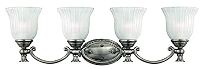 Hinkley 5584PL Traditional Four Light Bath from Francoise collection in Pwt, Nckl, B/S, Slvr.finish,