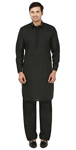 Maple Clothing Mens Pathani Kurta Salwar Set Indian Party Wear (Black, S)