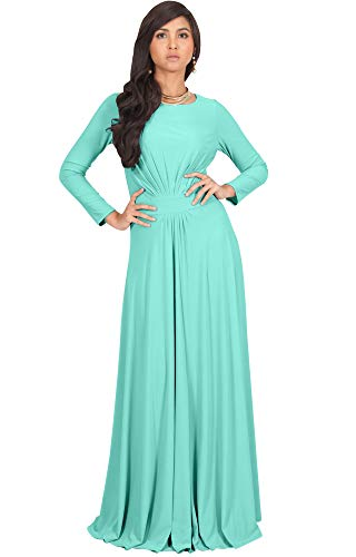 - KOH KOH Womens Long Full Sleeve Sleeves Flowy Empire Waist Fall Winter Modest Formal Floor Length Abaya Muslim Gown Gowns Maxi Dress Dresses, Light Mint Green S 4-6