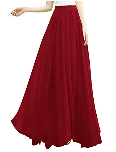 v28 Women Full/Ankle Length Elastic Retro Maxi Chiffon Long Skirt (S,Wine)