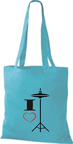Shirtstown - Bolso de tela de algodón para mujer Azul - sky