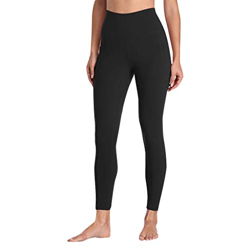 Londony ♪ High Waist Out Pocket Yoga Pants Tummy Control Workout Running 4 Way Stretch Yoga Leggings Shirts Casual Top Black