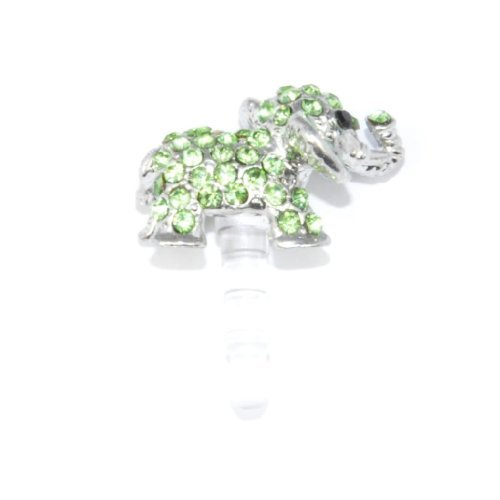 Cutequeen Dust-proof Ear Cap Green Elephant 3.5mm Plug For iPhone 3G 3Gs 4G 4S 5 FC12 (Elephant Plug For Iphone 4s)