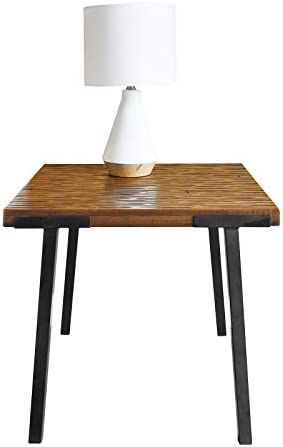 WELLAND Solid Wood Coffee Table,Unique Poplar Wood End Table with Metal Legs,Rustic Side Table Nightstand for Bedroom.Living Room