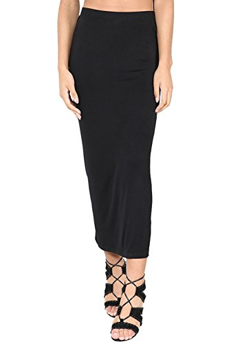 Womens Ladies Plain Stretchy Pencil Tube Bodycon Long Line Jersey Midi Skirt (Oops Outlet)