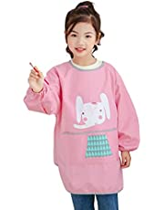 Kids Art Smock, Waterproof Children Art Aprons Artist Painting Aprons with Long Sleeve and Pocket for Boys Girls Age 6-9 Years (Pink - Elephant)