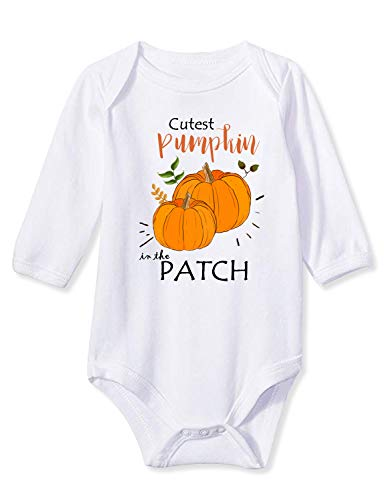 Pumpkin Patch Halloween (Funnycokid Baby Newborn Boys Girls Jumpsuit Cutest Pumpkin in The Patch Long Sleeve Cotton Rompers Baby Infant Layette Bodysuit 3-6)