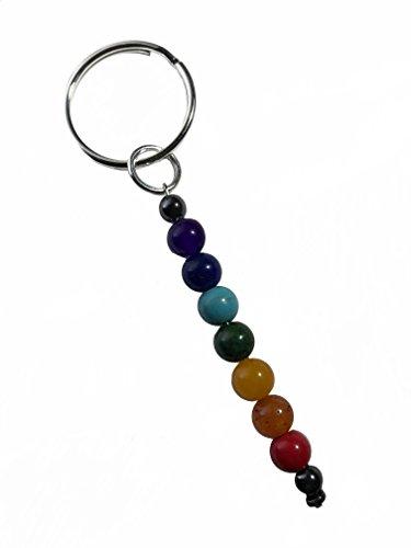 (Rainbow 7 Chakra Stone Bead Meditation Healing Spiritual Yoga Shiny Keychain)
