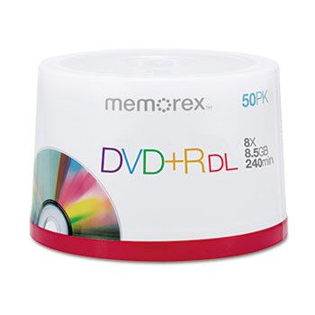 - Dual-Layer DVD+R Discs, 8.5 GB, 50/Pk by Memorex