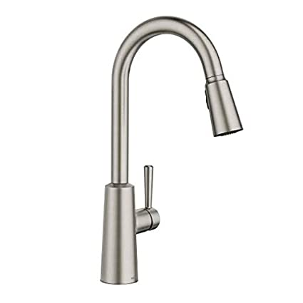 Moen 7402 Riley Pull-Down Spray High-Arc Kitchen Faucet with Reflex and  Power Cl, Spot Resist Stainless