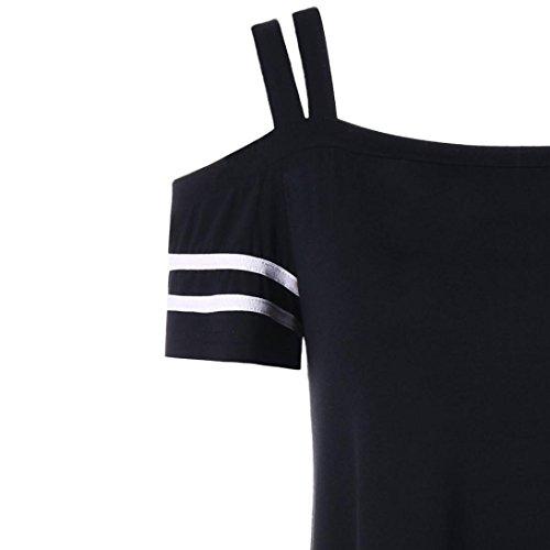 Felpe quarti lunga manica casual camicett corta colletto O sexy Donna Camicie Tre Nero Shirt manica T signora Leey pizzo 1pc Un collo donne qZCXwnYFF