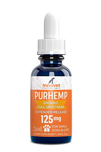 Innovet Pet Products - PurHemp+ Hemp Oil for Dogs and Cats: 100% Organic Natural Calming Drops - Anxiety Support - Hip and Joint Health - Pain Relief for Pets: Made in The USA (125mg PurHemp+)