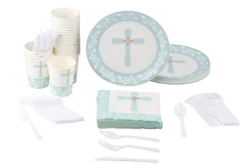 Disposable Dinnerware Set - Serves 24 - Religious Party Supplies for Baptism, Church Events, Includes Plastic Knives, Spoons, Forks, Paper Plates, Napkins, Cups