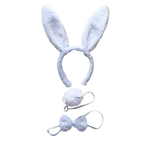 BinaryABC Bunny Rabbit Costume Set,Ears Headband Bow Ties Tail Set,Halloween Costume Assesories(White) -