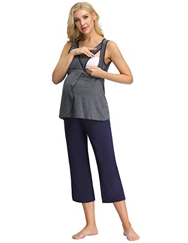 Cozy Pajamas for New Mom Stretchy Nursing Set Loungewear for Fall Grey+Navy S