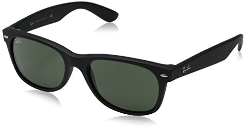 Ray-Ban Sunglasses New Wayfarer RB2132-622, 55mm size, Black rubber frame/Crystal Green - Sizes New Wayfarer