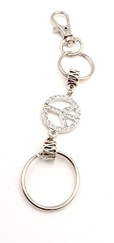 (Peace Sign Rhinestone - Double Ring - Keychain -Car Accessory- Pocket - Pocketbook - Gold-plated)