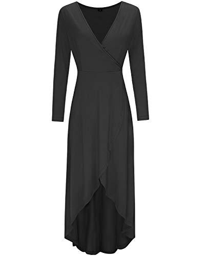 KILIG Womens V Neck Long Sleeve Asymmetrical Casual Maxi Dresses (Black-1, L)