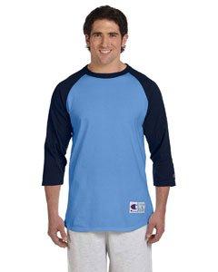 (Champion Men's Raglan Baseball T-Shirt, Light Blue/Navy, Medium)