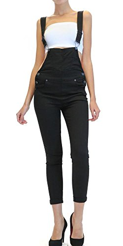 TwiinSisters Women's Solid Color Slim Fitted Skinny Overalls with Comfort Stretch (Black, Medium - Overalls Skinny