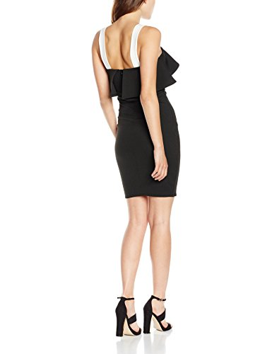 New Look Colour Block Frill, Vestido para Mujer Negro