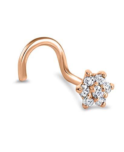 14k Rose Gold Nose Stud Ring Screw 4.5mm Christina Flower Cluster 22G